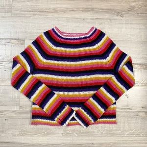 90s inspired warm cropped striped sweater NWT